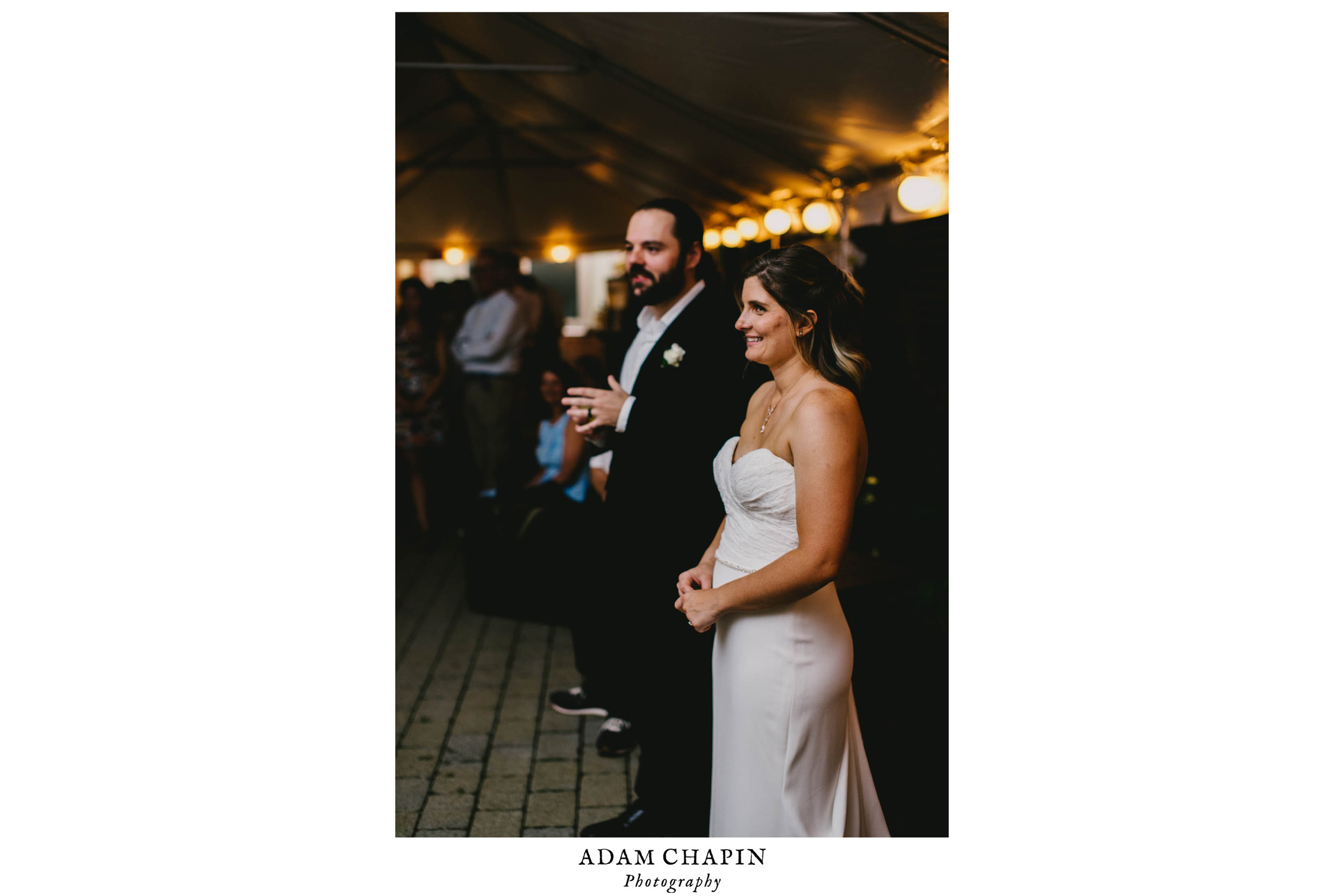 bride and groom listening to toasts during their Jiddi Space and Courtyard Wedding at Sitti Restaurant