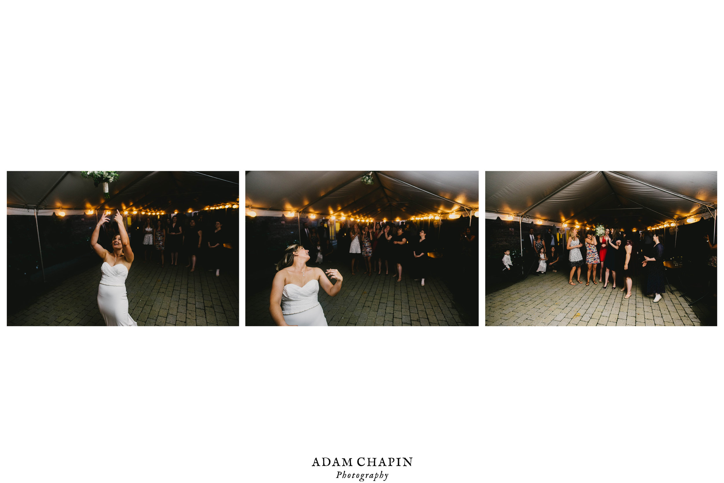 brides bouquet toss during their Jiddi Space and Courtyard Wedding at Sitti Restaurant
