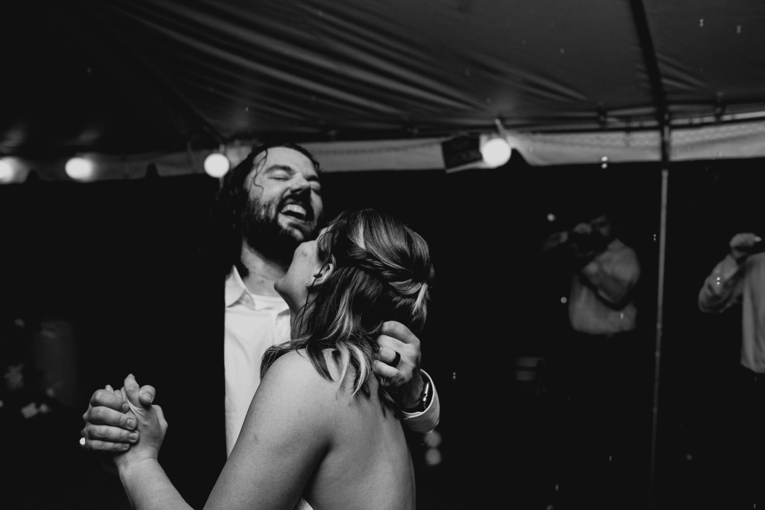 bride and groom sharing a dance at their Jiddi Space and Courtyard Wedding at Sitti Restaurant