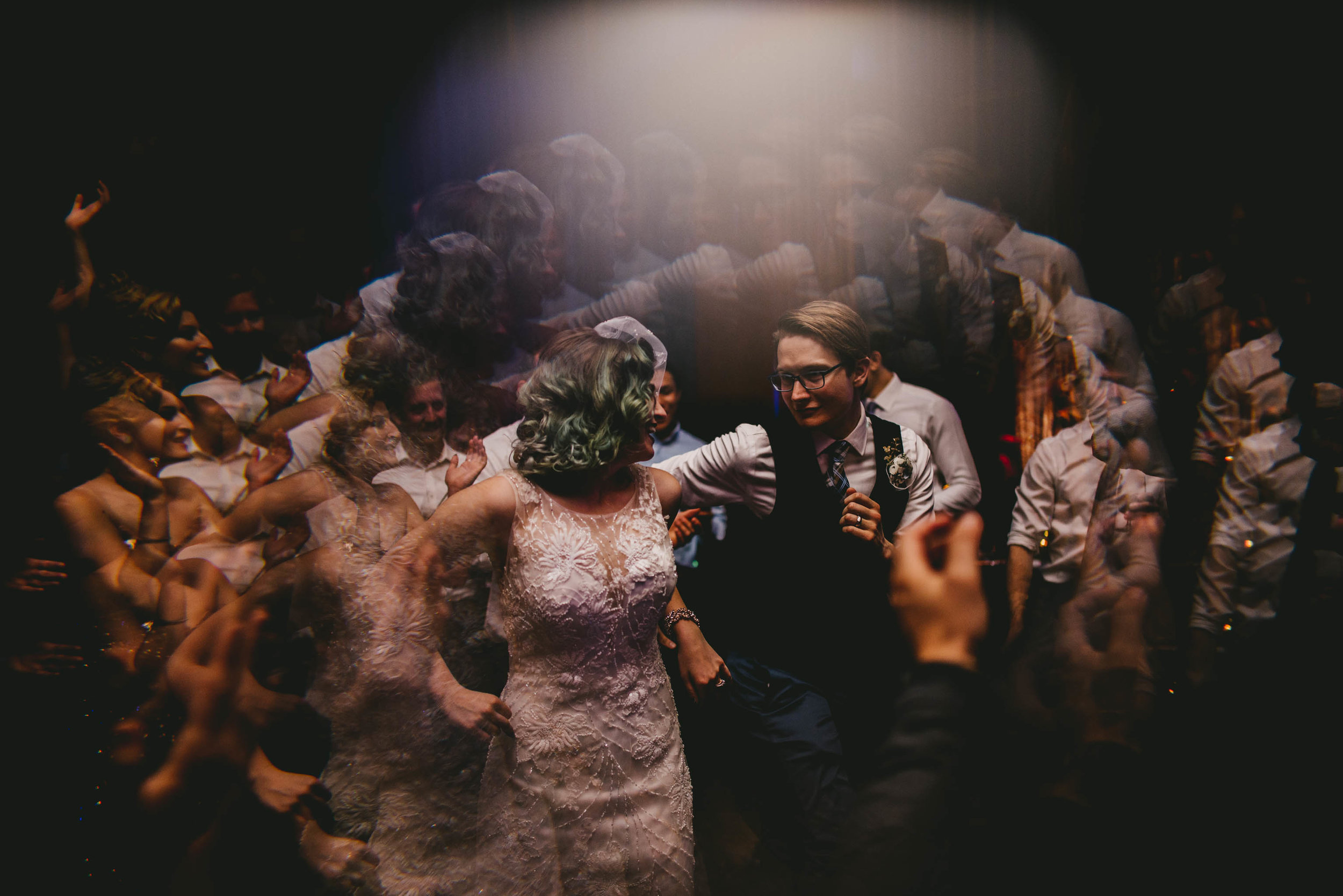 couple dancing during their wedding reception at 21c hotel in durham