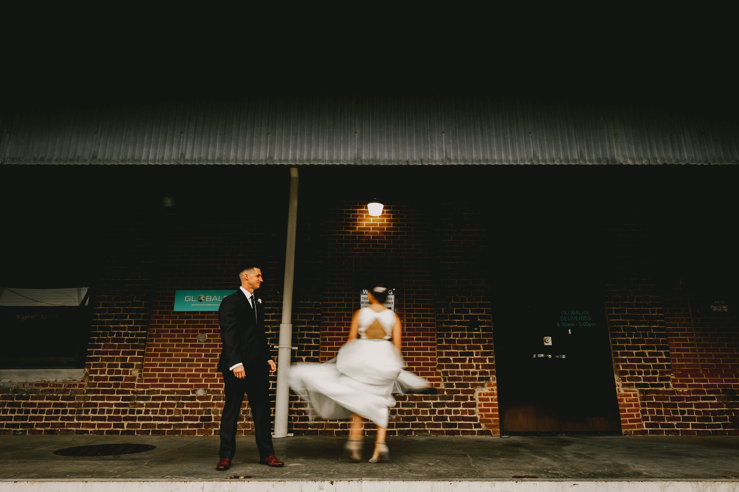 bride spinning her way to her groom at clothmill on the eno