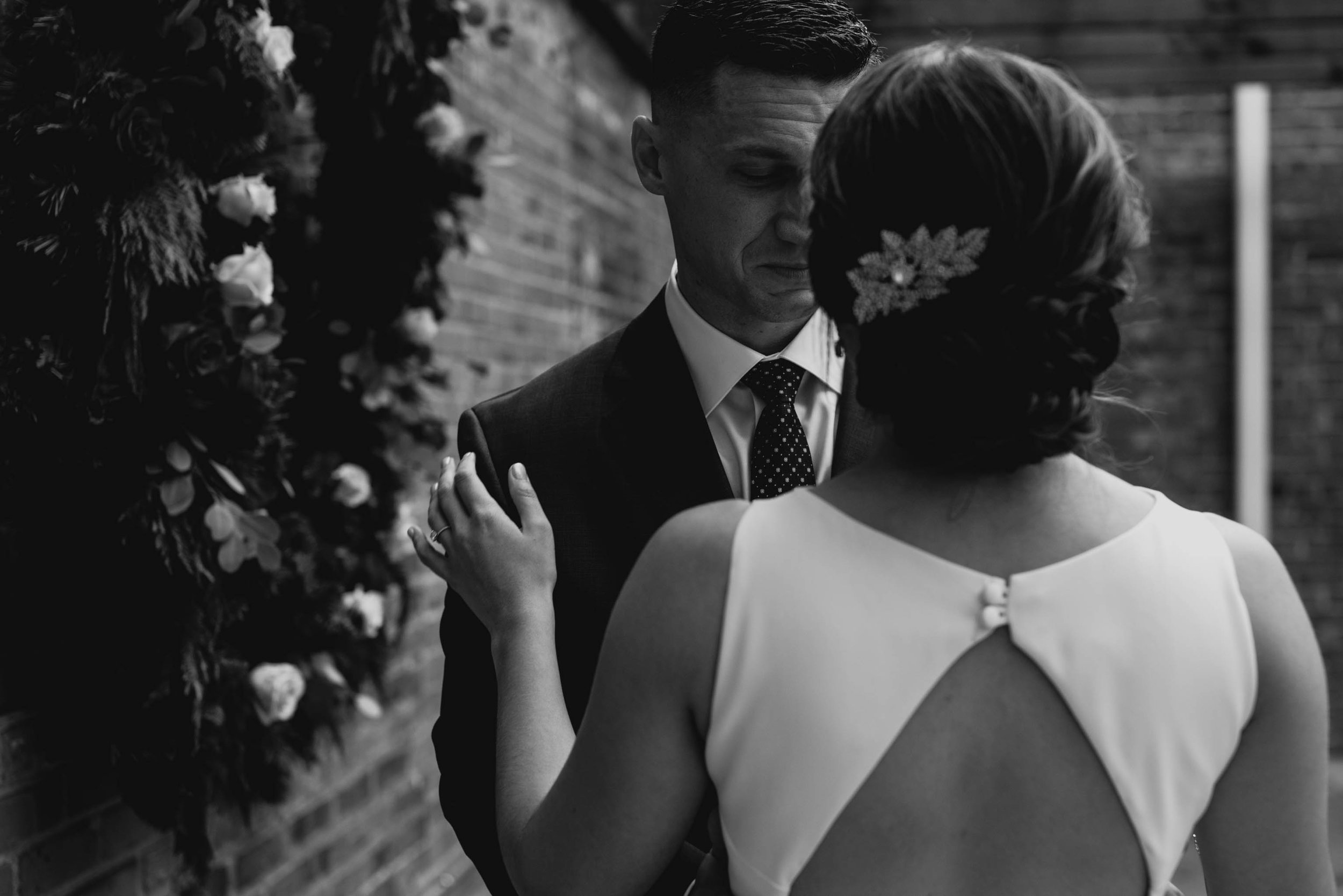 groom crying during first look with the bride at the Clothmill on the eno