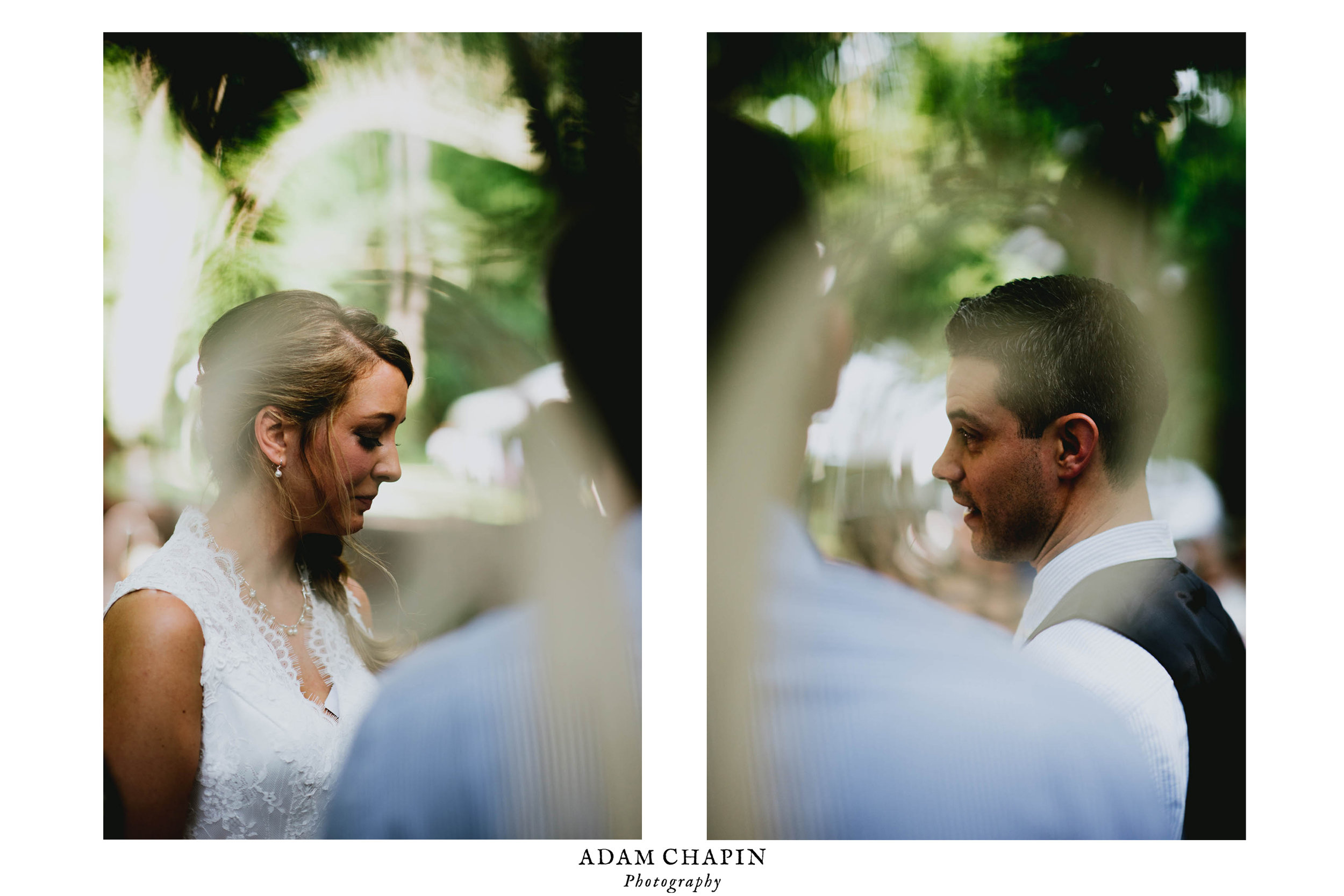 diptych of bride and groom during ceremony