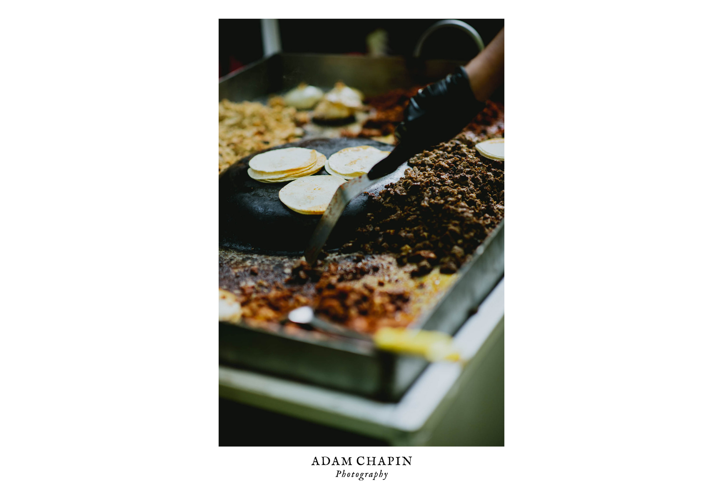 tacos being made during duke forest wedding reception