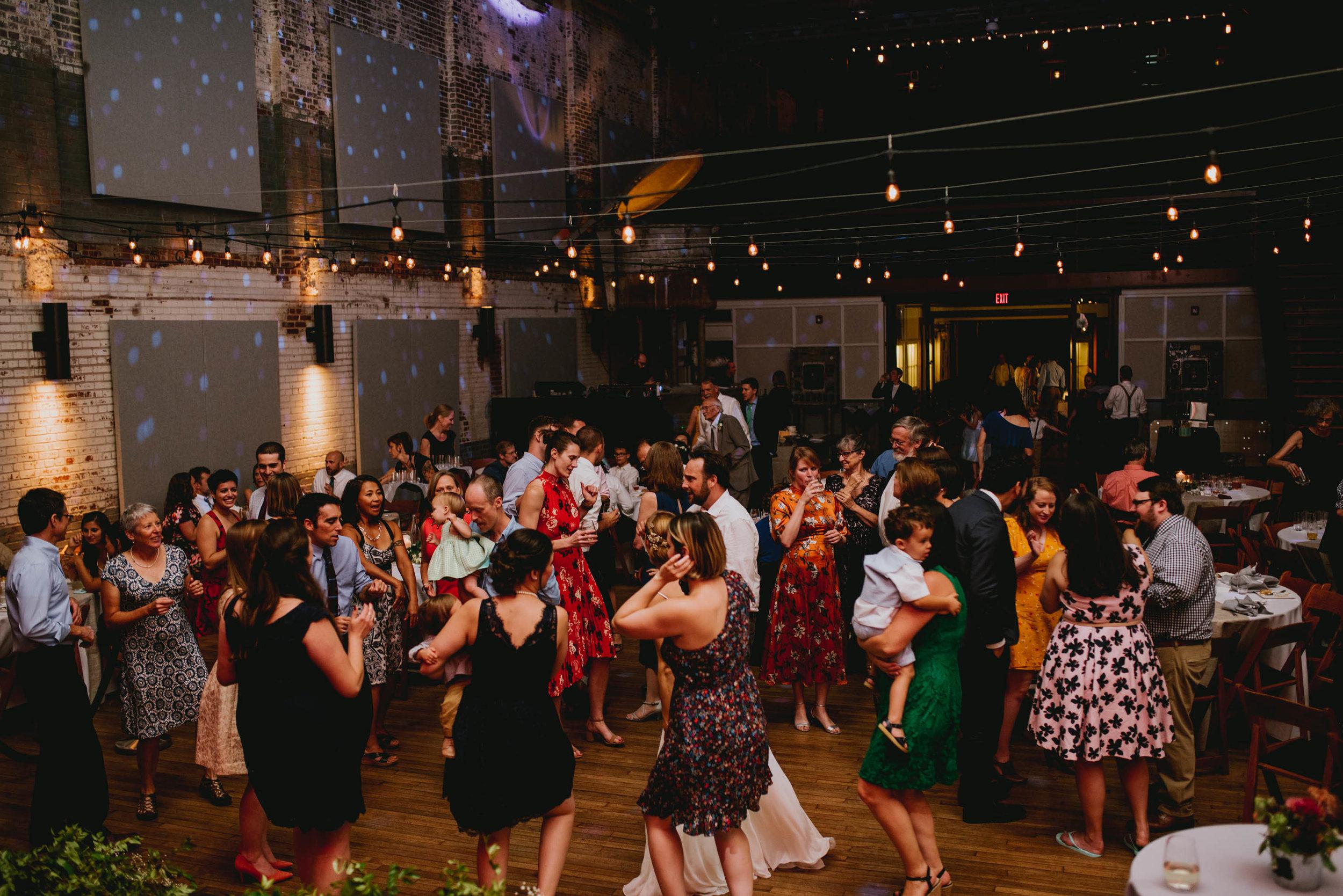 guests dancing at haw river ballroom wedding