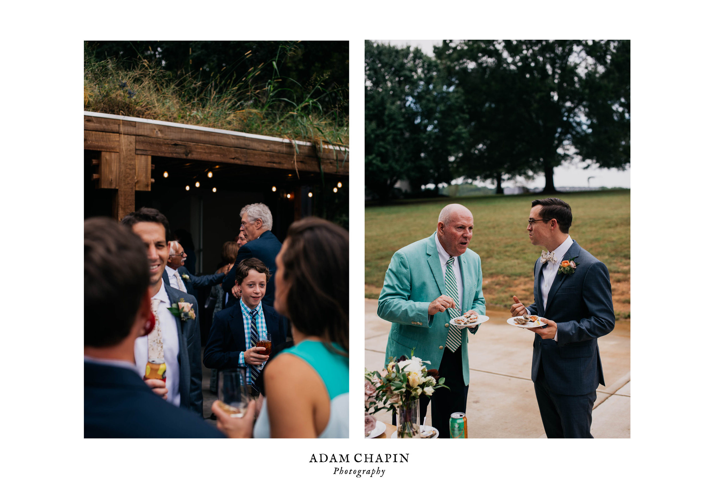 a couple of candid photos of wedding guests socializing during the cocktail hour of the wedding