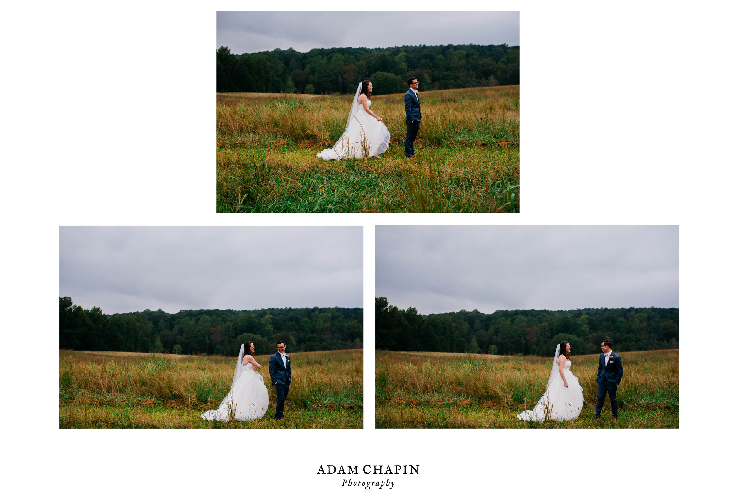 bride and grooms first look tryptych
