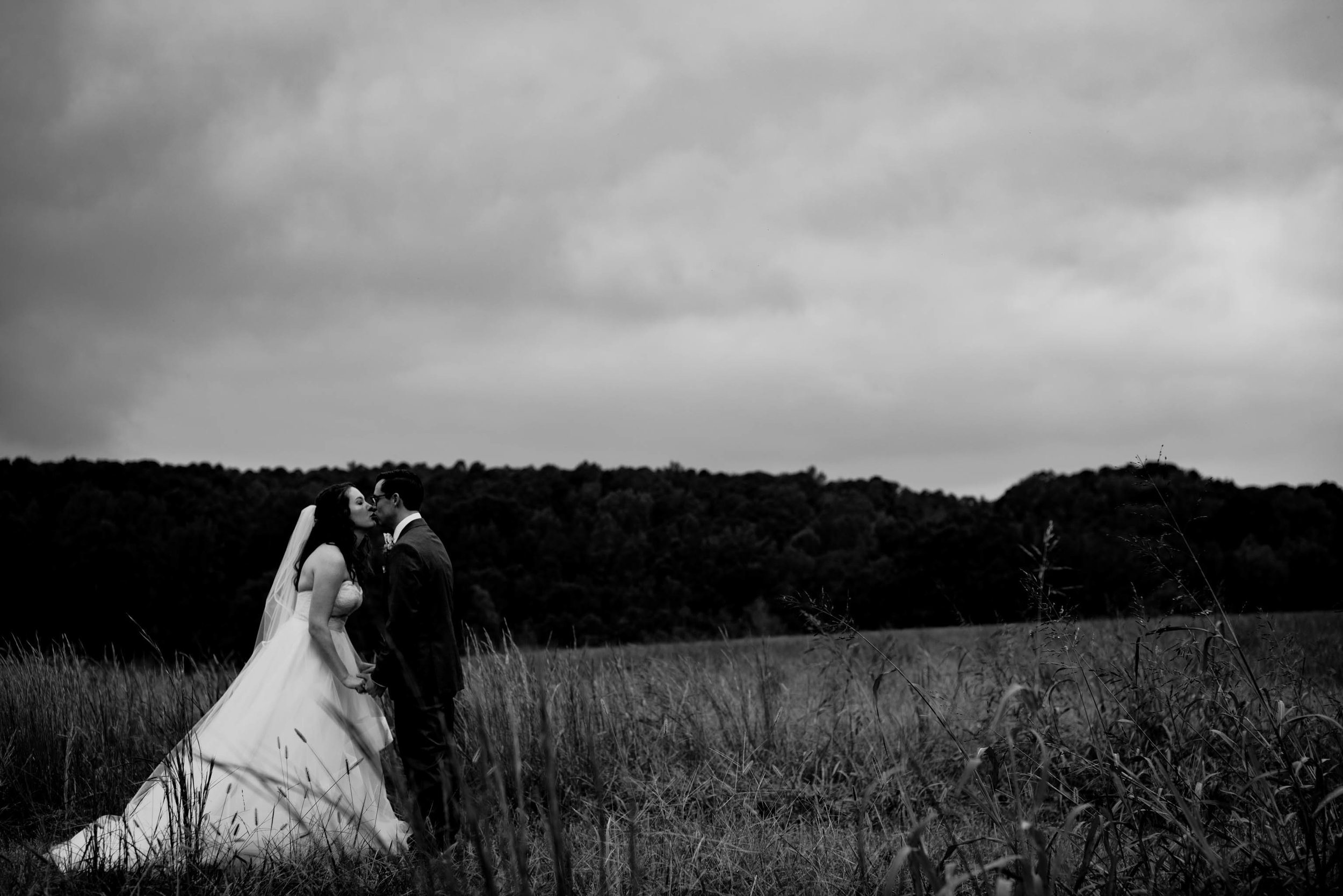 black and white photo of the bride and grooms first look