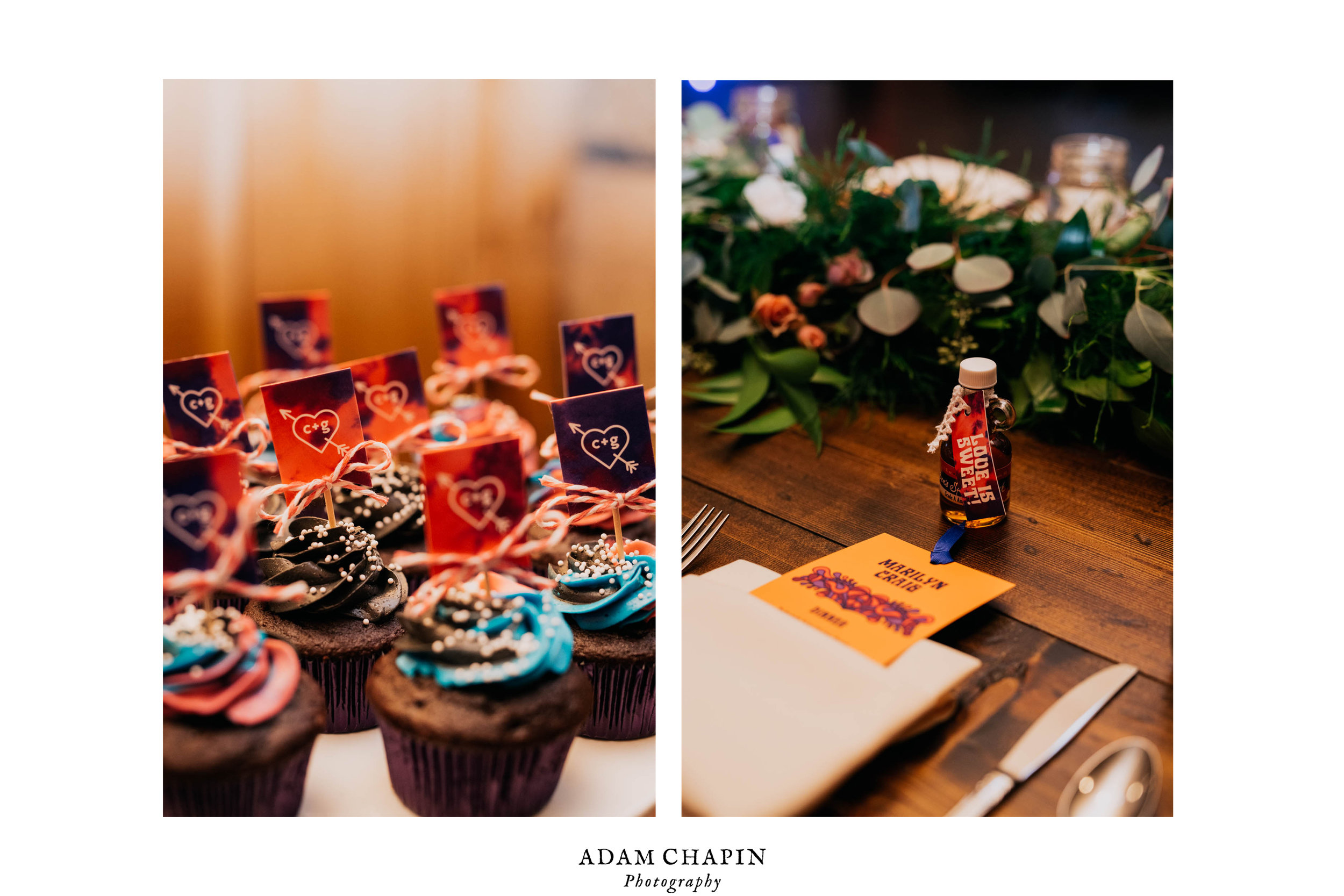 cupcake and tablescape details during this claxton farm wedding reception