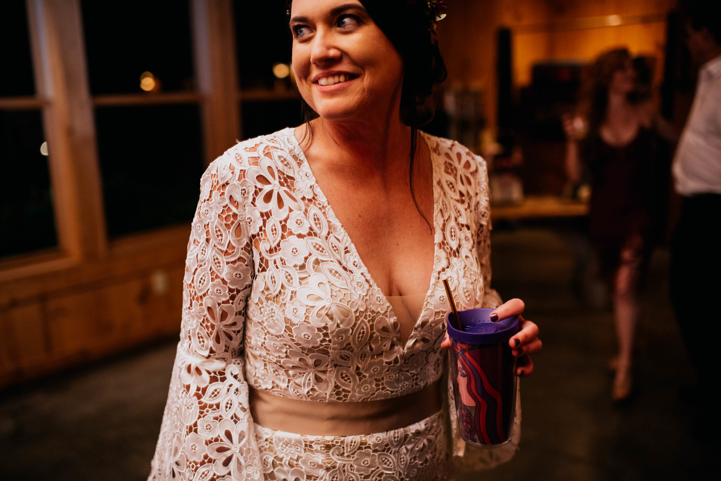 bride smiling during the reception while on the dancefloor