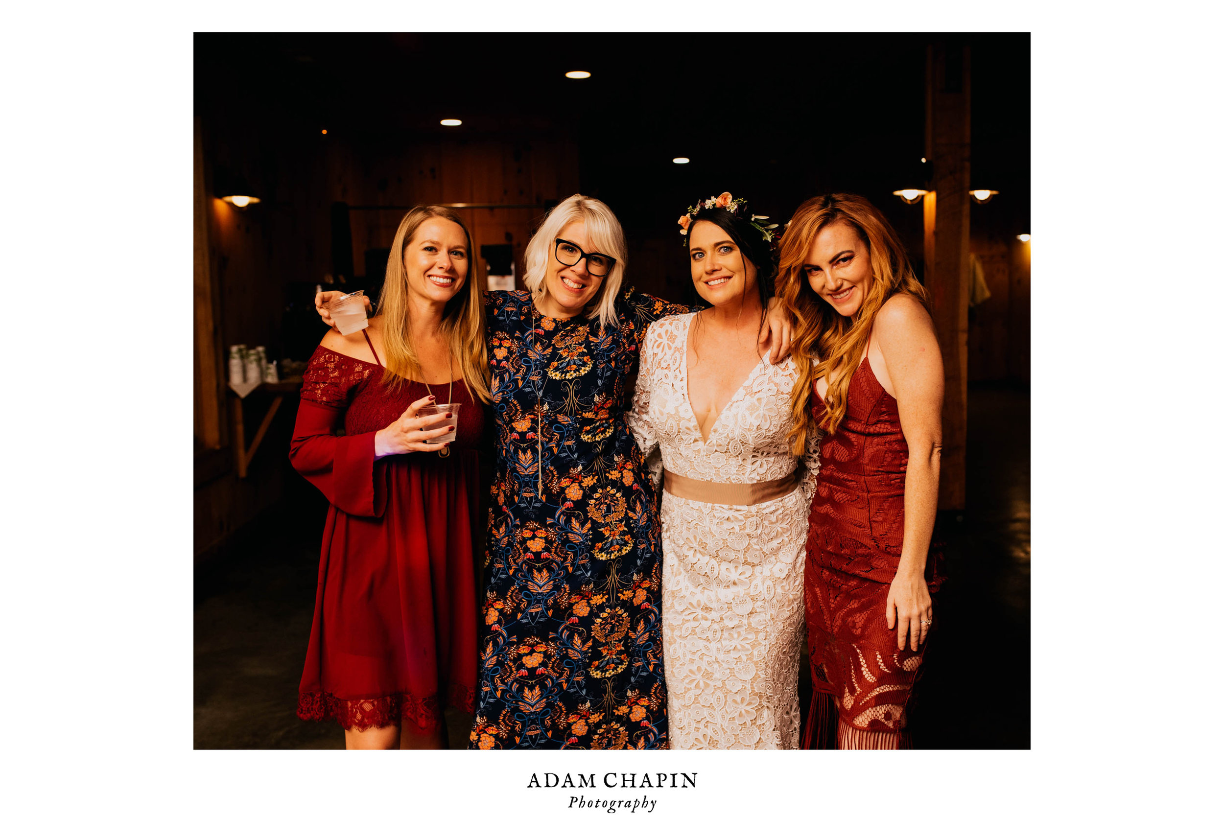 bride posing with her friends