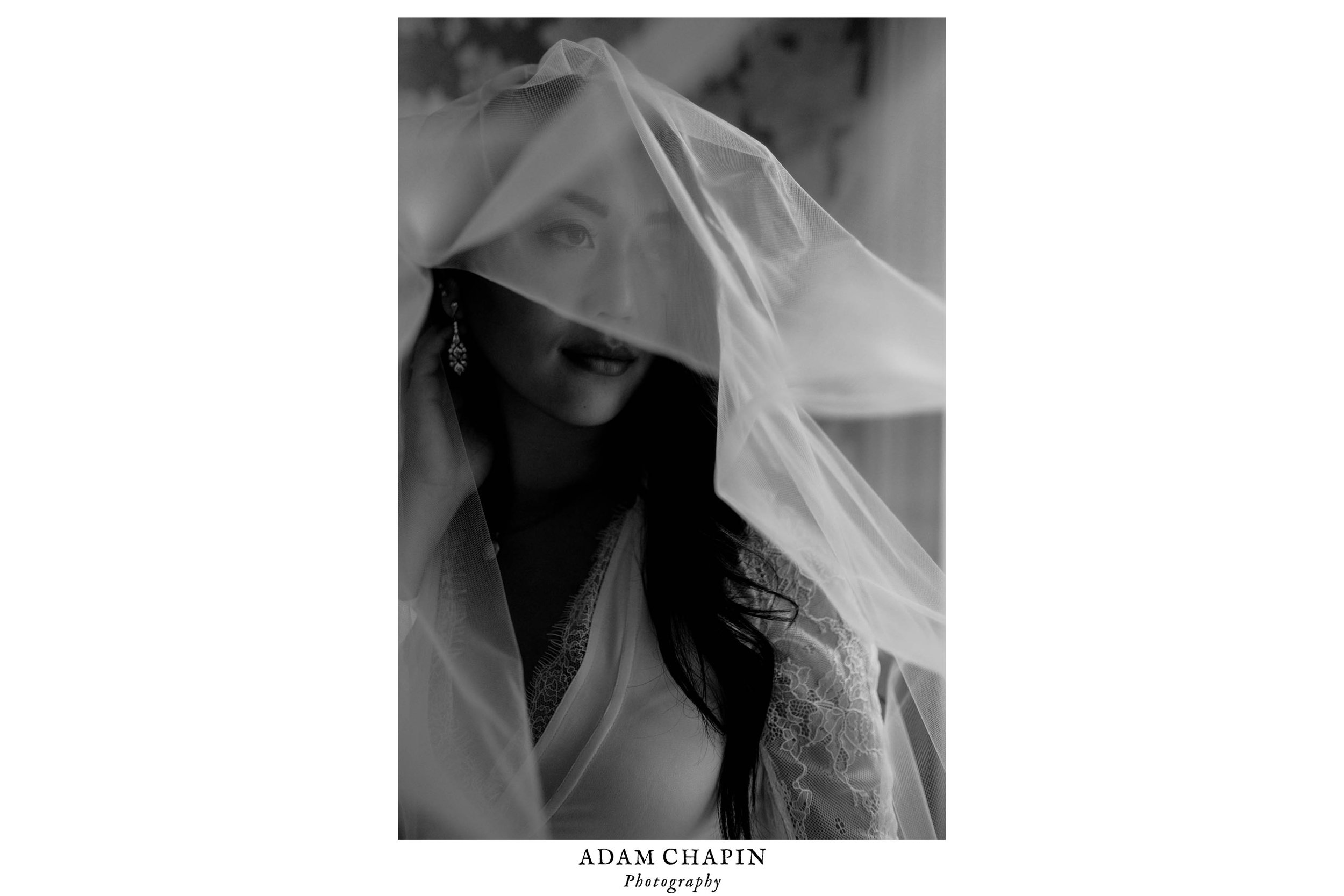 black and white portrait of bride wearing her veil