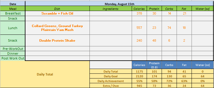 I track meals daily to ensure that I'm providing my body with what it needs to keep going. Am I nerd for building out a meal tracking spreadsheet? Yes.