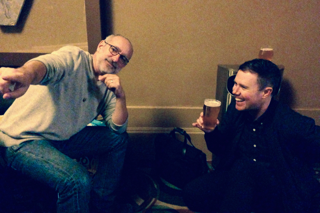Dean and David enjoy a beer and talk Ski School trivia before the show