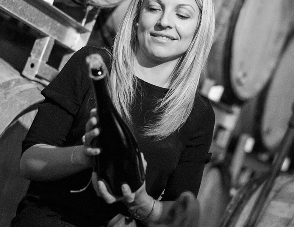 Winemaker Angelique Coutelas in the cellar