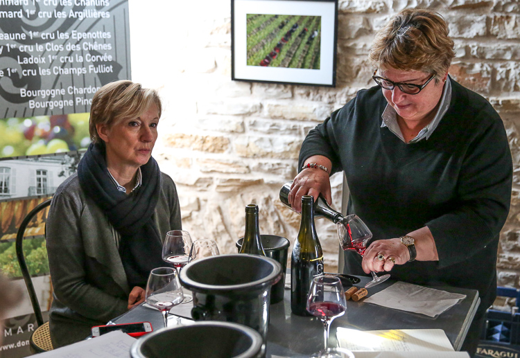Tasting with sisters Catherine and Anne Parent at their main office in Burgundy