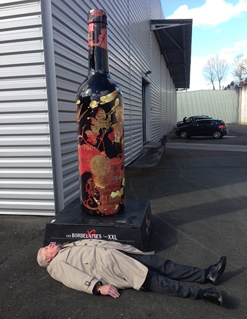 """From Ralph:  This picture went viral in France. It is after the Joanne tasting of about 175 wines as well as my last tasting of the visit, and I was really DONE! I was in the office with Clyde and this young negociant, and when she saw me she said, """"You're the guy in the picture!"""""""