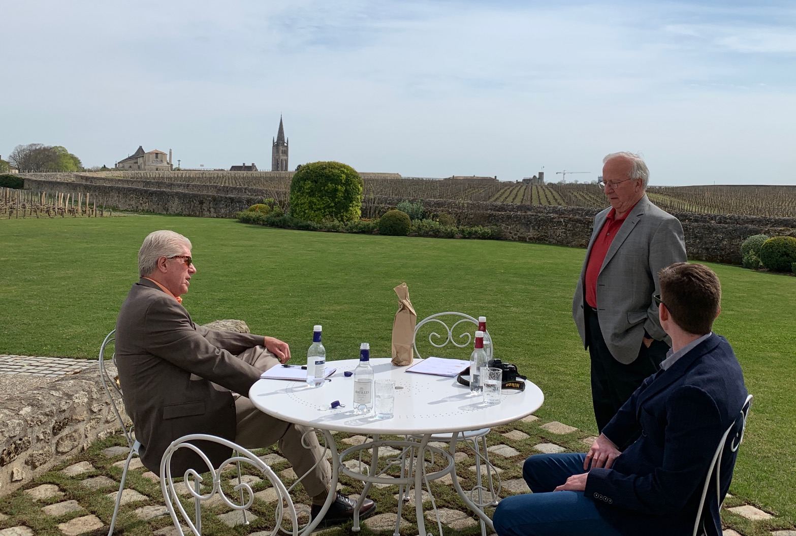 The team discusses the vintage with the treasured Saint-Emilion terroir in the background