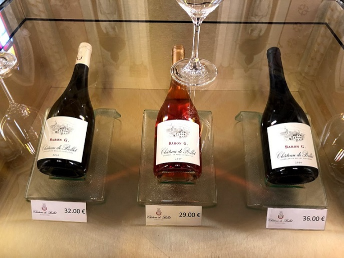 Château de Bellet's wines on display in their reception area, housed in the historic chapel on the property.
