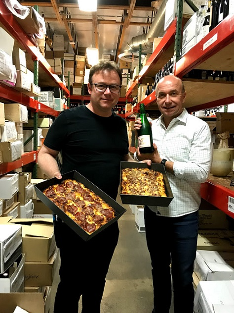 Keith brought the pizza, Kaj brought the wine.
