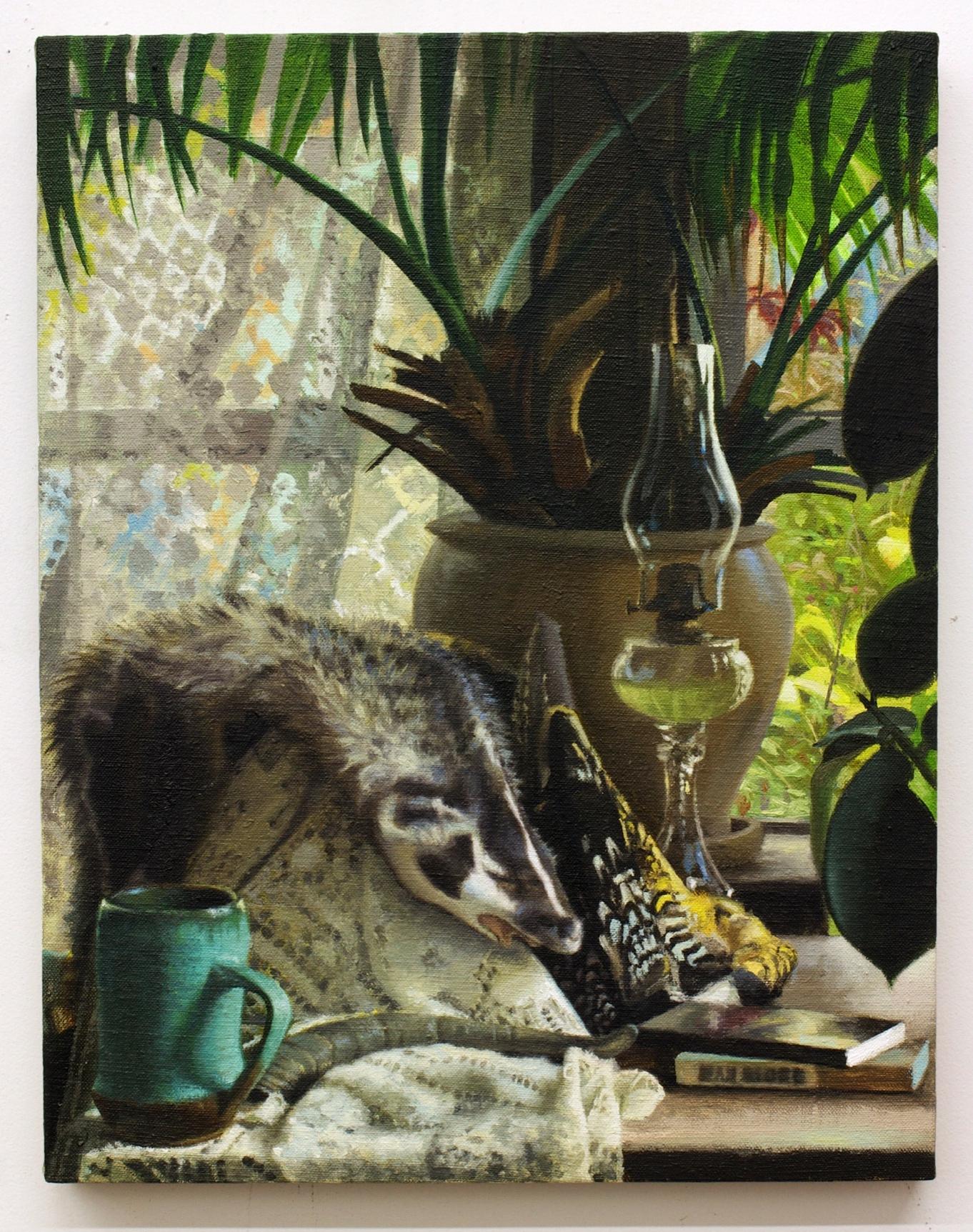 "Still Life with Badger Pelt, oil on linen 18""X16"" 2013"
