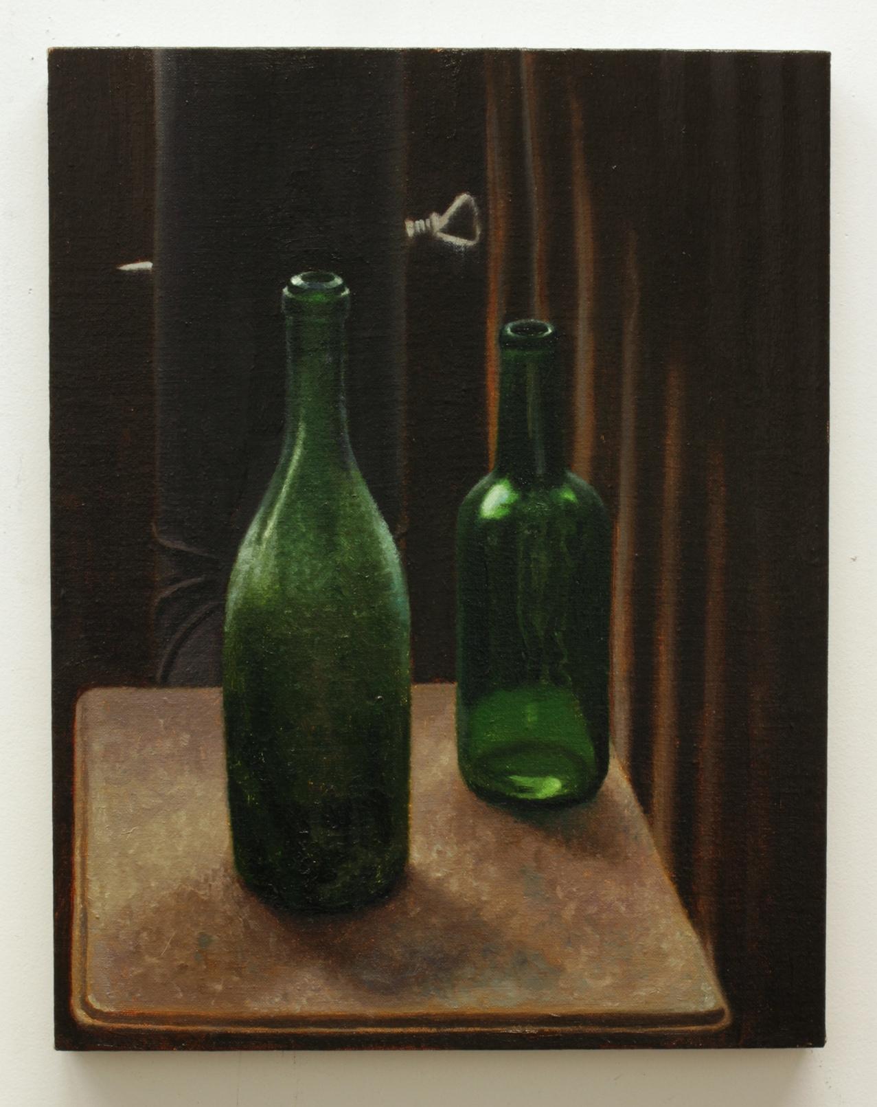 "Still Life With Bottles, oil on linen 18""X16"" 2013"