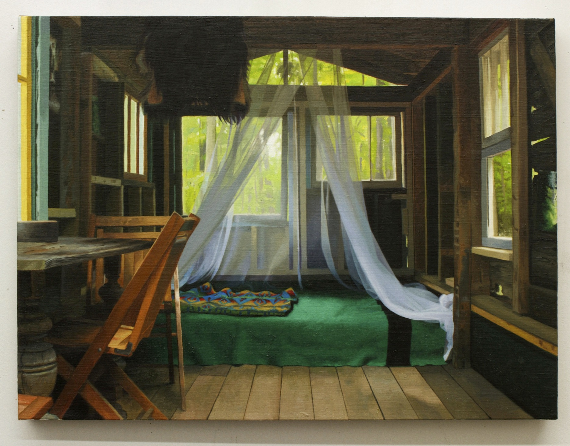 "Interior with Blankets, oil on linen 18""X24"" 2014"