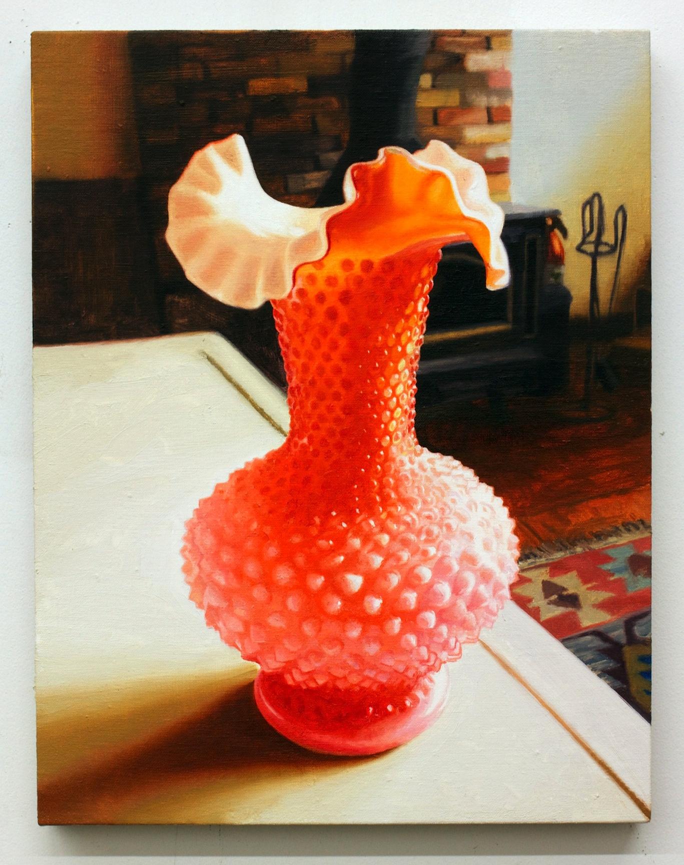 """Still Life with Vase, oil on linen 18""""X16"""" 2013"""