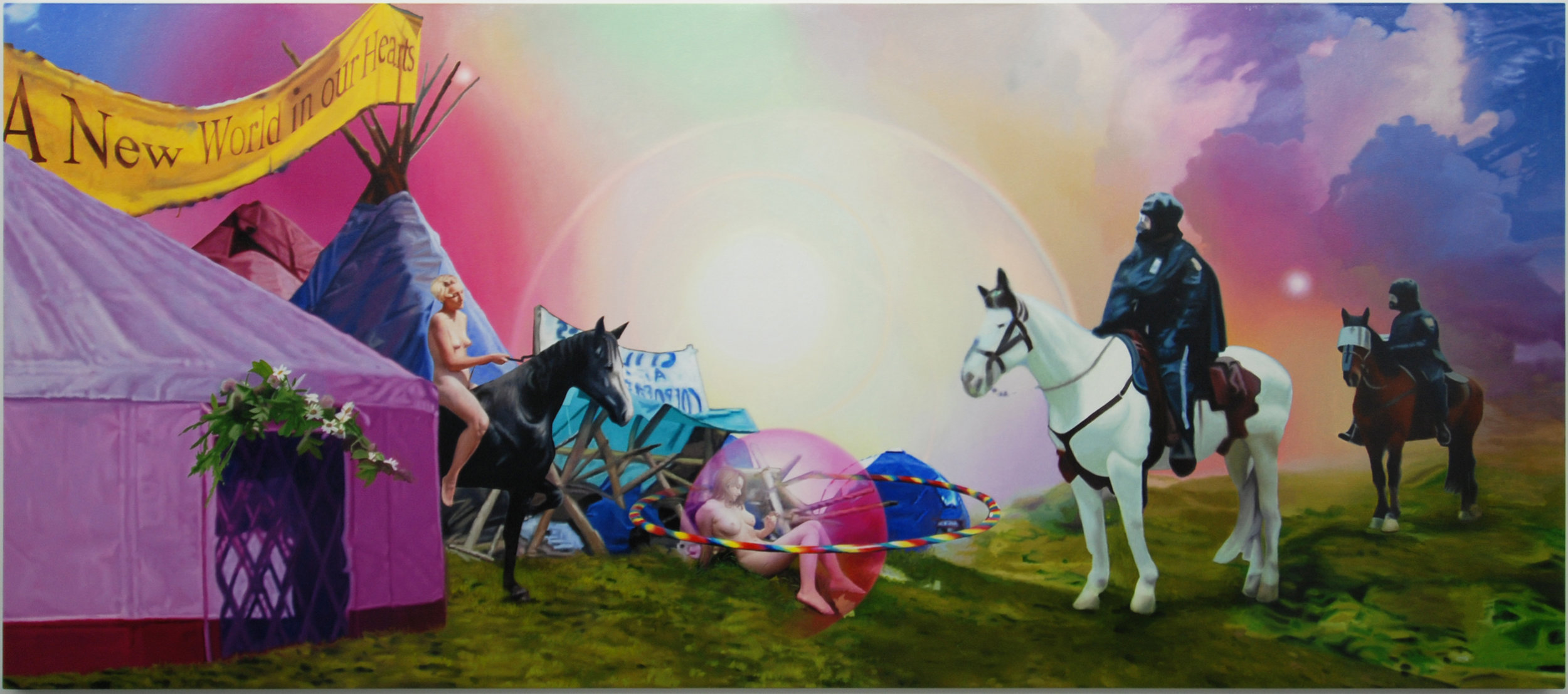 """Nomads Face a Grave Danger from Invading Forces, oil on canvas, 63"""" X 144"""" 2005"""