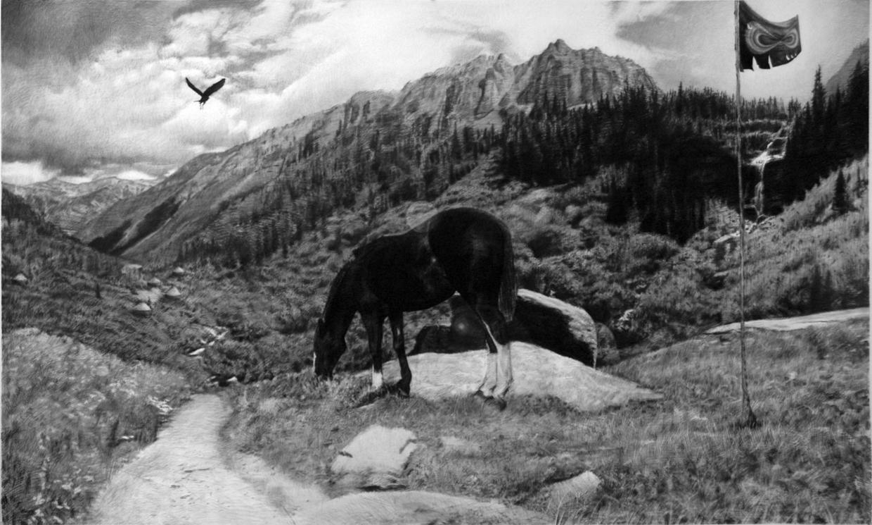 "Black Crow, Black Horse, Black Flag, charcoal on paper 72""X 120"" 2009"