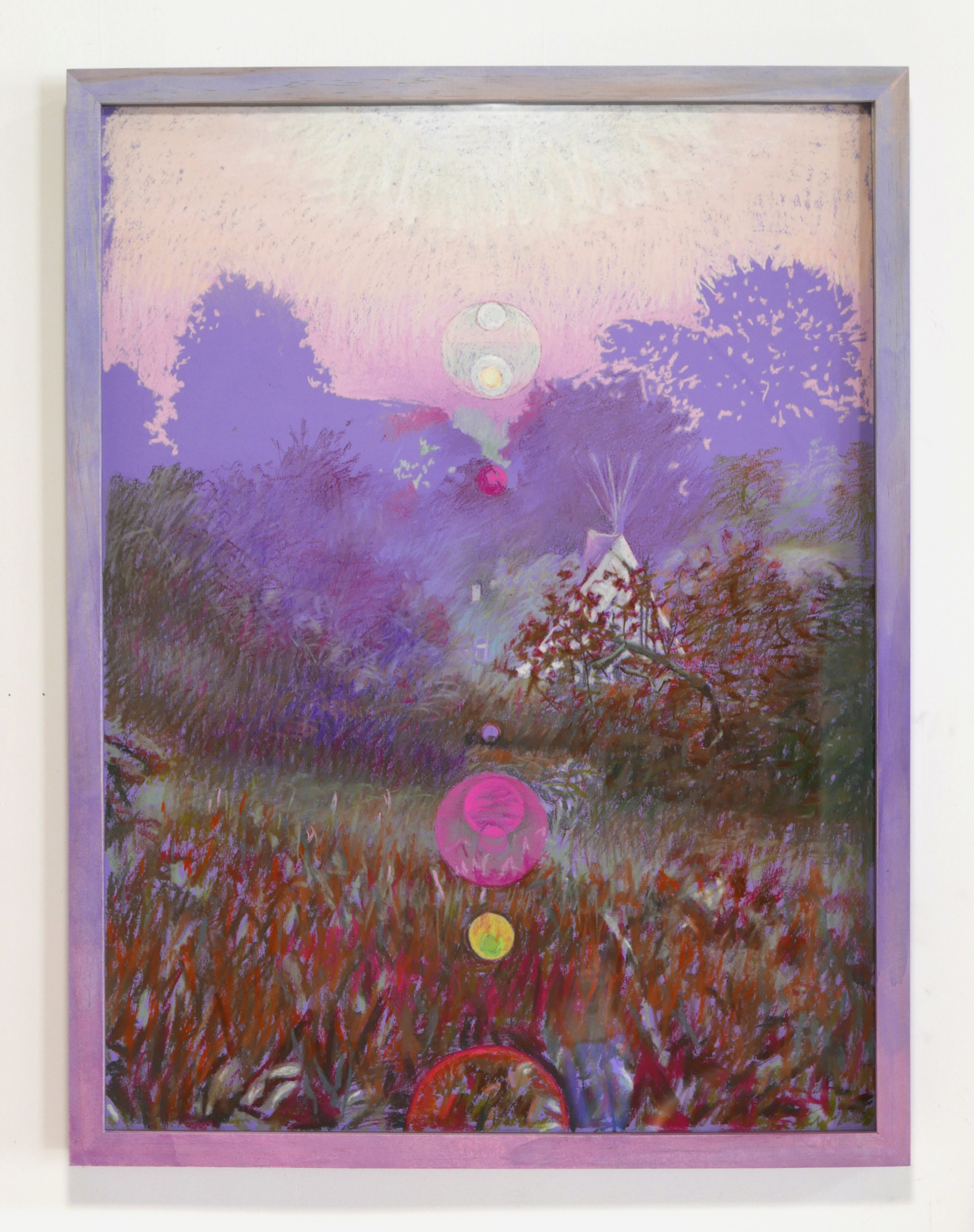 "Morning Dew Pink, pastel on paper hand dyed wood frame, 25"" X 19"" 2019"