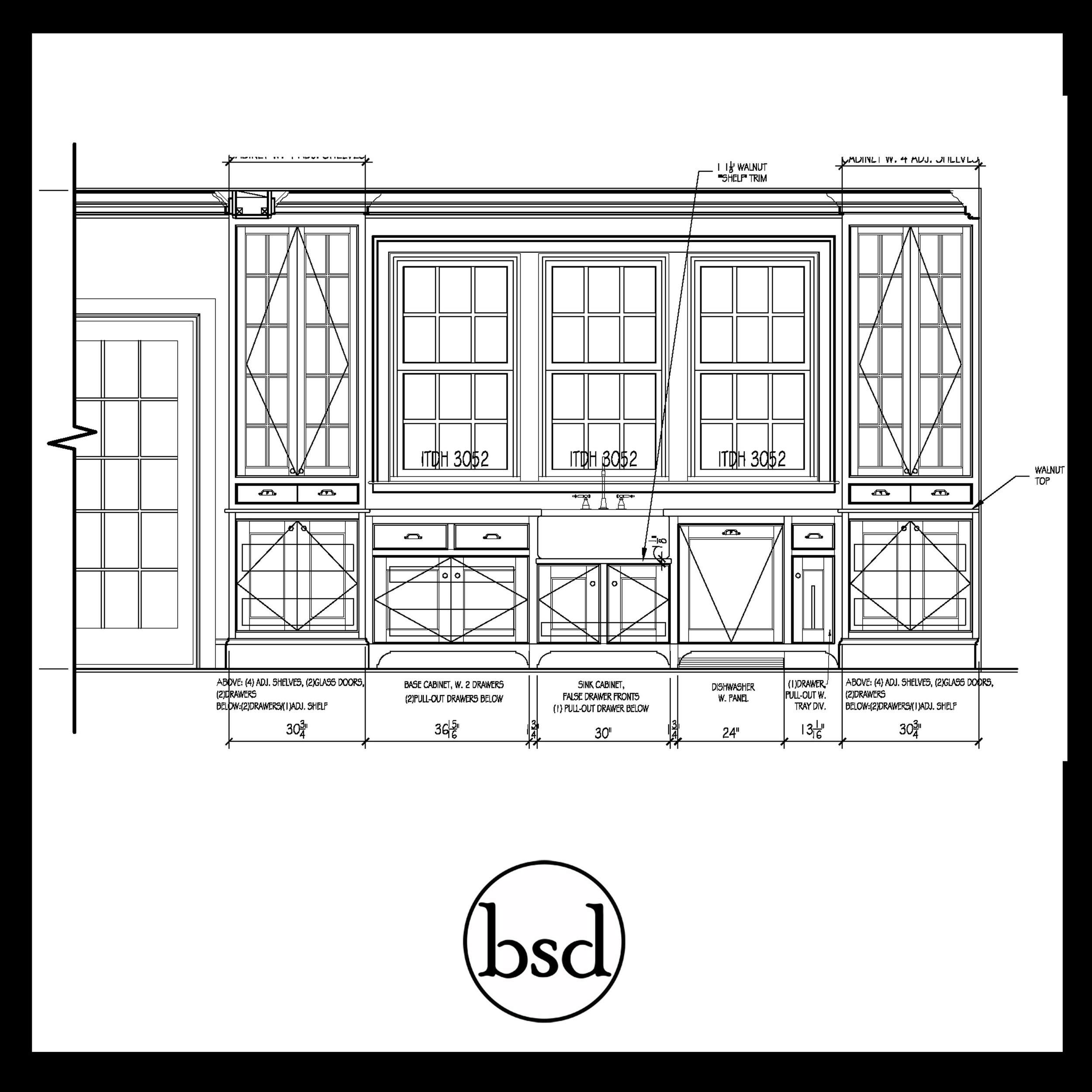Kitchen cabinetry elevation drawing
