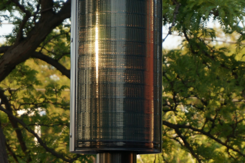 The cylindrical panel on the solar streetlight demo unit in Mississauga, Ontario.