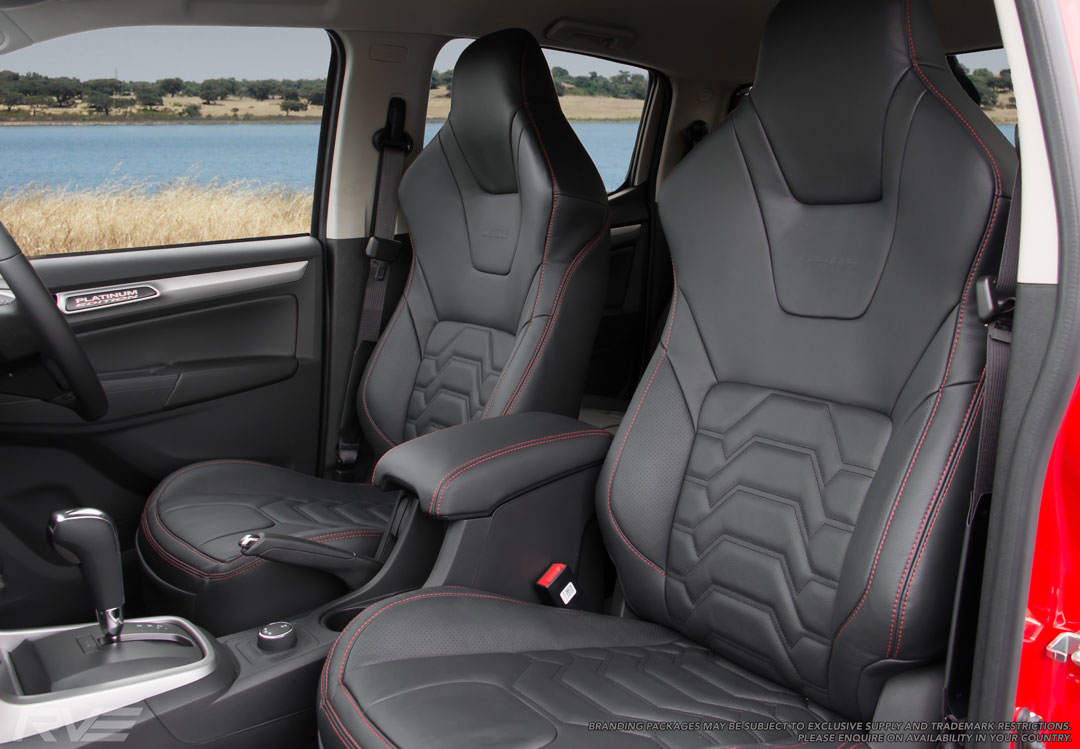 Holden Colorado Upgrade 'Tombstone' sport seating black leather, 'armour' inserts with black stitching, red bolster stitching, and Platinum Edition logo embossing