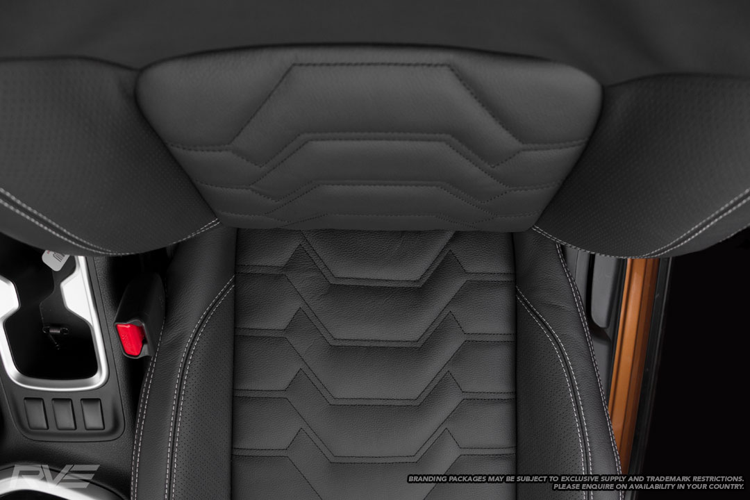Upgraded Tombstone seats in black leather, perforated inner bolsters,silver stitching and black Armour inserts.