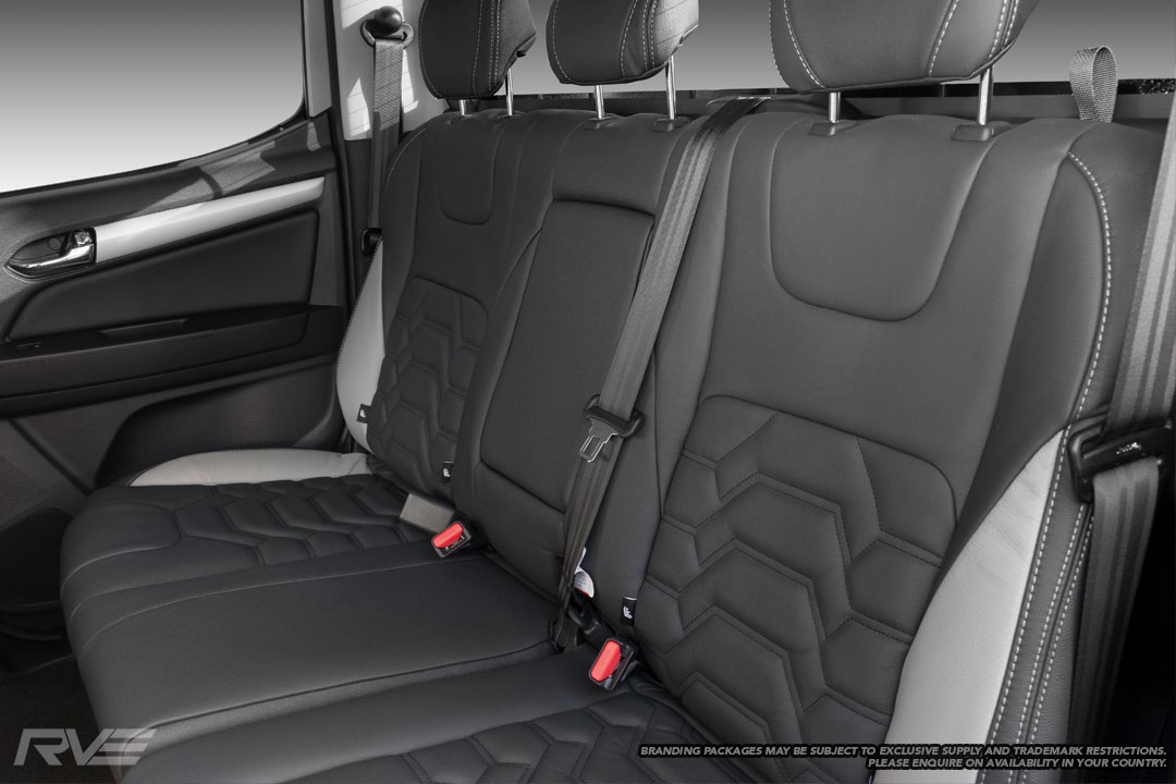Upgraded Tombstone seats in black leather with silver stitching, black stitched Armour inserts and dolphin highlights.