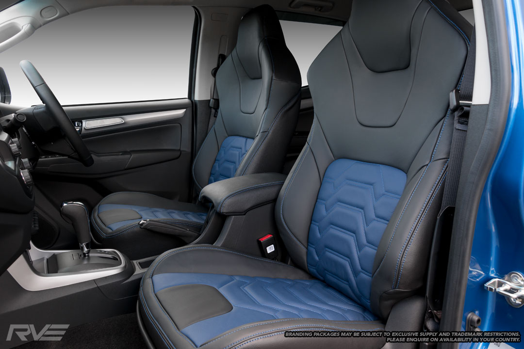 Upgraded Tombstone sport seats in black leather with blue stitching and blue 'Armour' inserts.
