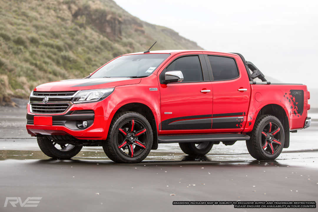 Fang – Ute / 4x4 Spec / SUV  Size: 20 x 9  Colour: Matte black, centre cap and red inserts