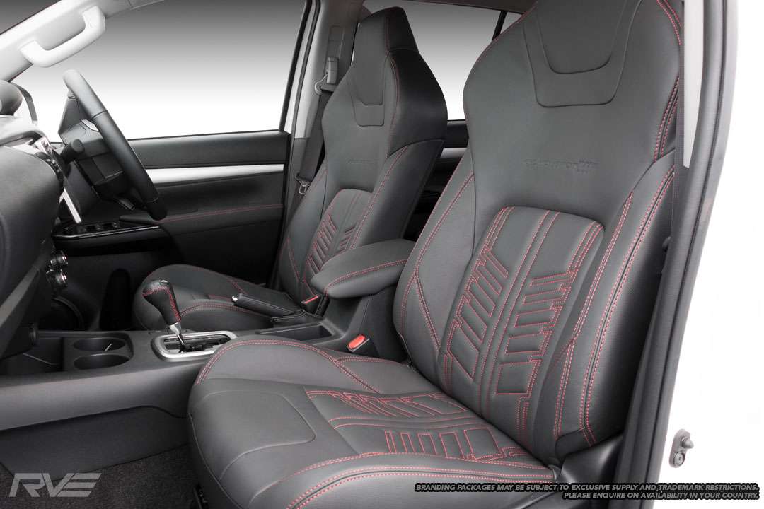 Upgraded tombstone sports seats in black leather with red stitching, embossed logos and red stitched 'Gladiator' inserts.