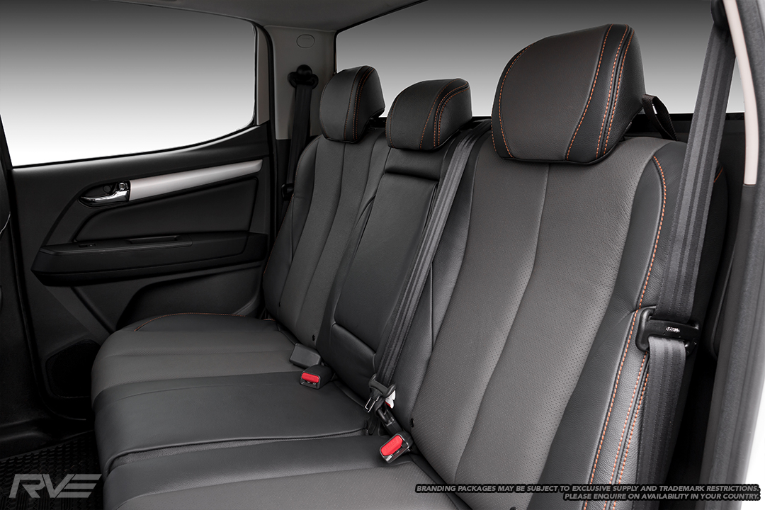 Upgraded 'Graphite' interior in black leather with perforated graphite inserts and orange stitching.