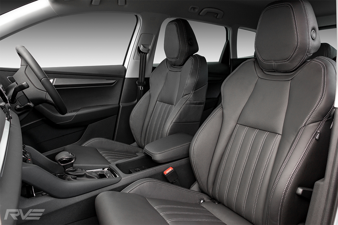Skoda Karoq TDI with upgraded interior in black leather with 'TSI-style' inserts and silver stitching.