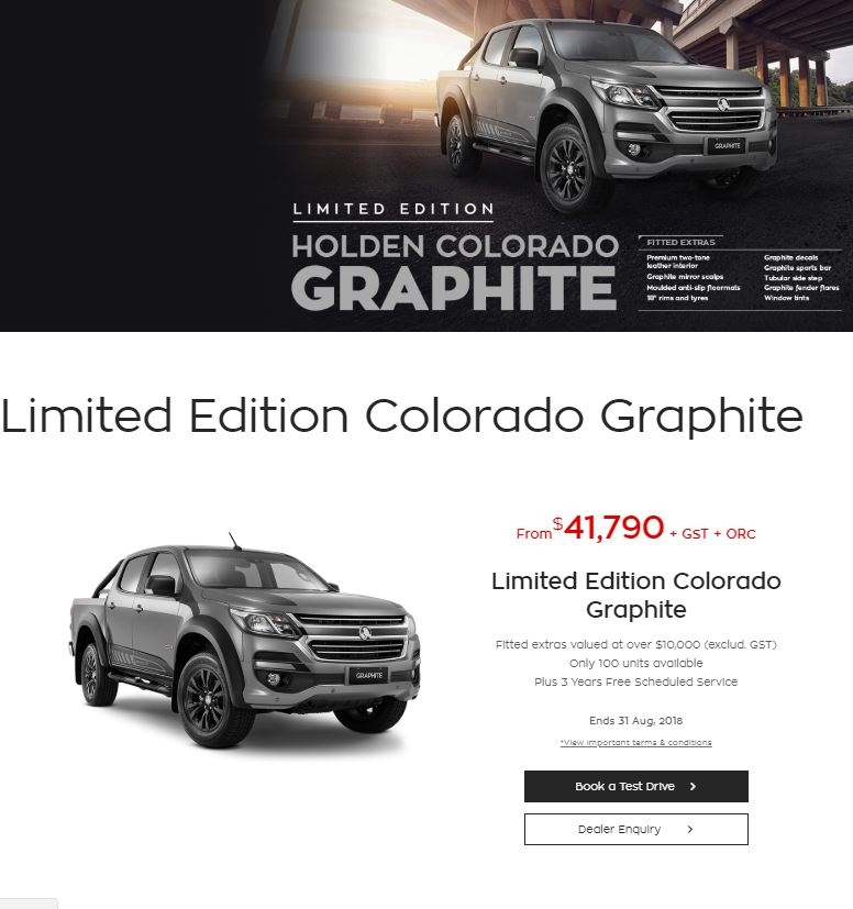 Early 2018 Holden New Zealand, working with RVE, created the 'Graphite'. A limited Edition Holden Colorado. This is a screenshot from the Holden website.