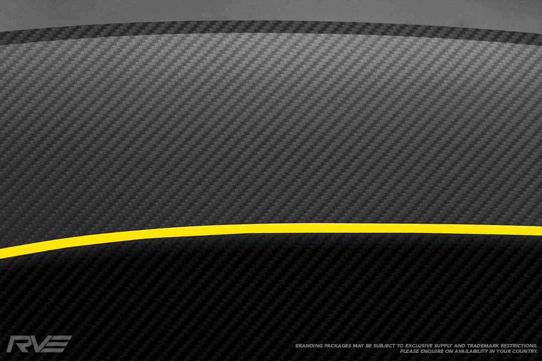 Carbon fibre look decal with yellow highlights