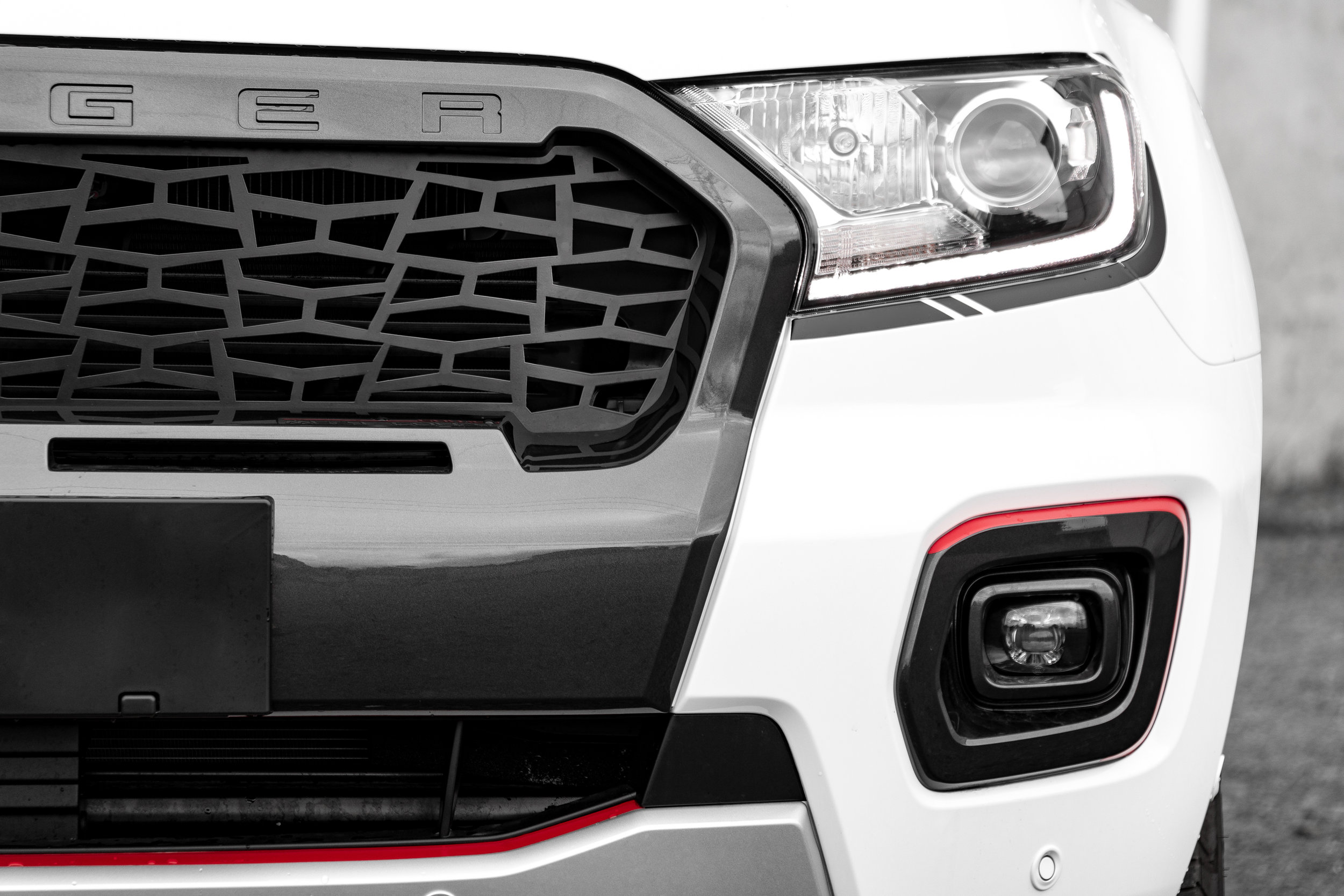 Grille mesh without bezel or lights