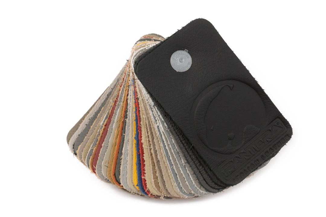 Leather colour swatch. 33 original RVE colours