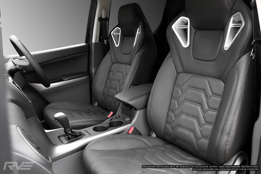 Upgraded Monza sport seats in OEM spec black leather with black stitching and armour inserts.