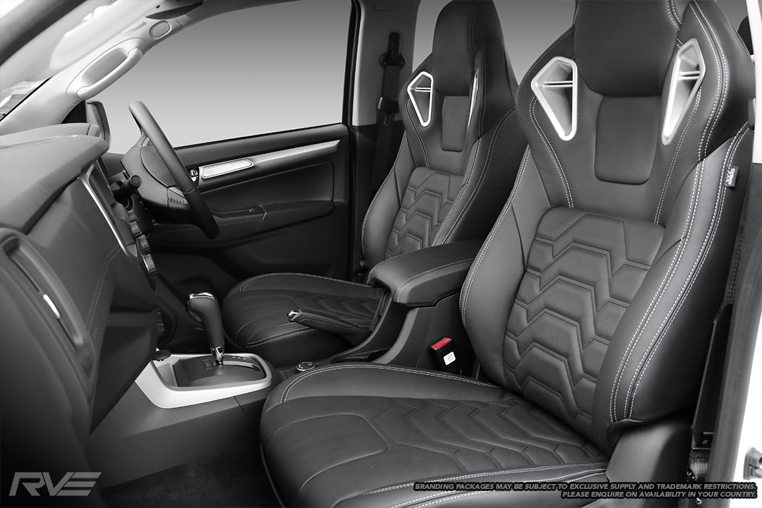 Upgraded Monza sport seats in OEM spec black leather with silver stitching and armour inserts.