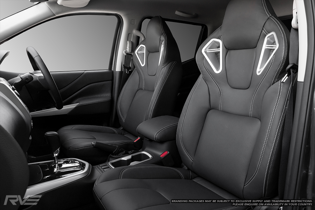 Upgraded Monza sport seats in OEM spec black leather with silver double stitching and perforated inserts.