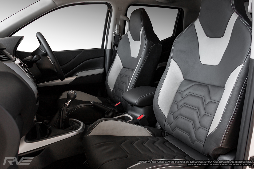 2019 Nissan Navara with upgraded tombstone sport seats in OEM spec black leather with sulphur highlights, silver stitching and armour inserts.