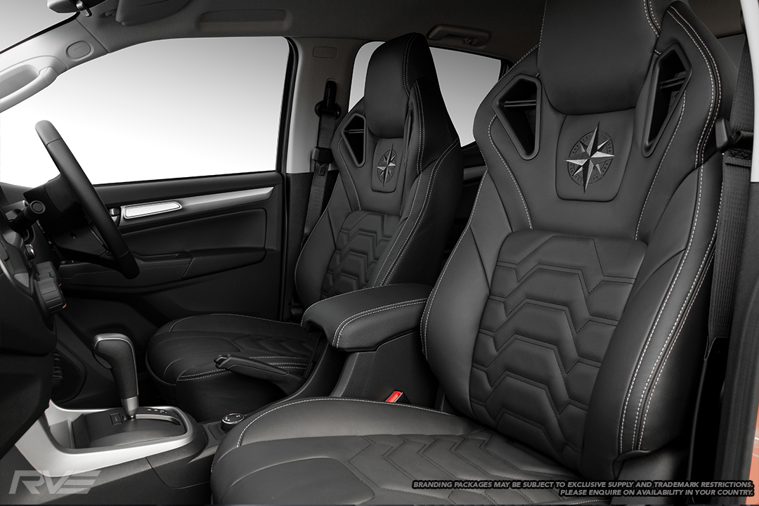 2019 Holden Colorado with upgraded Monza sport seats in OEM spec black leather with black shoulder accents, silver stitching, armour inserts and embroidered logos (exclusive to Ebbett Holden).